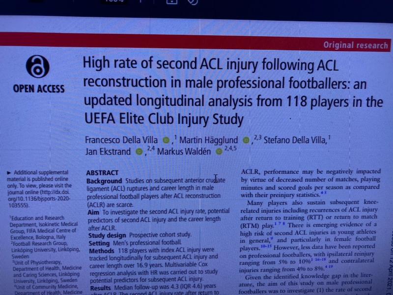 プロサッカー選手の前十字靭帯損傷(ACL)について〜BJSMの論文より〜